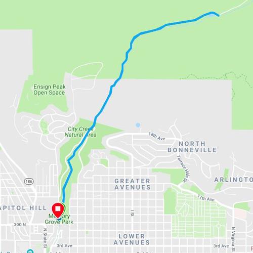 City Creek Running Map in Salt Lake City Utah